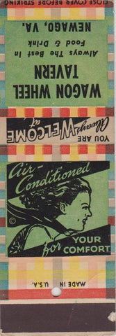 Matchbook Cover - Wagon Wheel Tavern girlie Newago VA SAMPLE WEAR