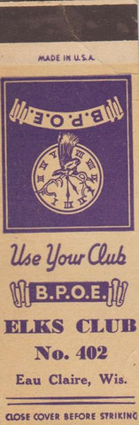 Matchbook Cover - Elks Club Eau Claire WI SAMPLE #402 CREASE
