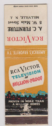 Matchbook Cover - RCA Victor TV's Millville NJ