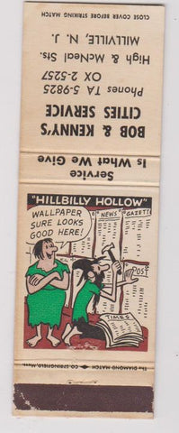 Matchbook Cover - Bob Kenny's Cities oil gas Millville NJ Hillbilly WEAR