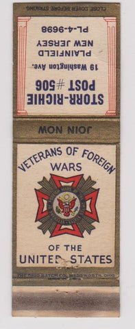 Matchbook Cover - VFW Plainfield NJ Storr Richie Post #506
