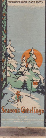 Matchbook Cover - Season's Greatings Christmas BLANK WORN CREASES