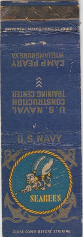 Matchbook Cover - US Naval Construction Seabees Camp Peary Williamsburg VA WORN