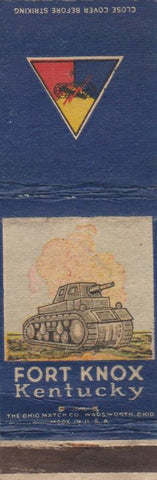 Matchbook Cover - Fort Knox KY Kentuckey military WEAR