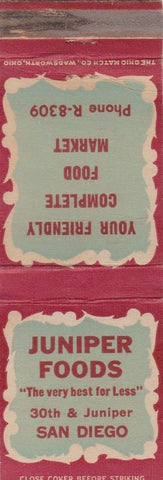 Matchbook Cover - Juniper Foods San Diego CA grocery WEAR