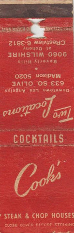 Matchbook Cover - Cook's Restaurant Los Angeles CA POOR