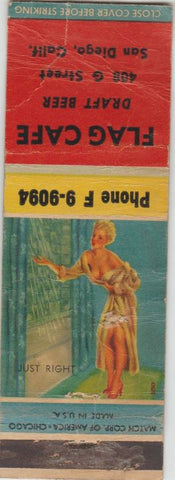 Matchbook Cover - Flag Cafe San Diego CA pinup WORN