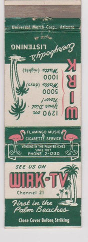 Matchbook Cover - WIRK TV Palm Beach FL flamingo vending WEAR