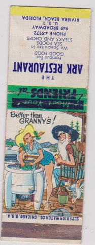 Matchbook Cover - Ark Restaurant Riviera Beach FL hillbilly WEAR