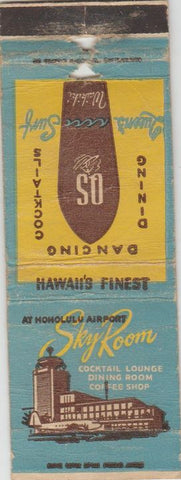 Matchbook Cover - Sky Room Honolulu HI Airport Waikiki POOR