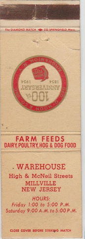 Matchbook Cover - Warehouse Farm Feeds Millville NJ WEAR