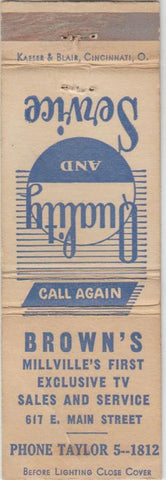 Matchbook Cover - Brown's TV Sales Millville NJ CREASE