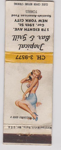 Matchbook Cover - Tropical Bar Grill New York City pinup Spanish food WORN