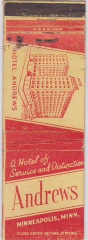 Matchbook Cover - Andrews Hotel Minneapolis MN WORN