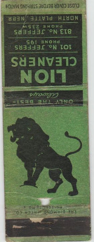 Matchbook Cover - Lion Cleaners North Platte NE WORN