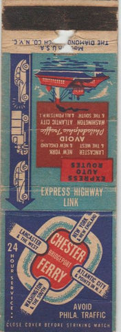 Matchbook Cover - Chester Bridgeport Ferry PA WEAR