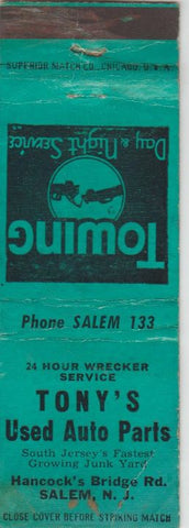 Matchbook Cover - Tony's Used Auto Parts Salem NJ WORN