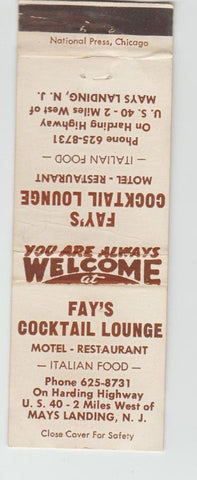 Matchbook Cover - Fay's Cocktail Lounge Mays Landing NJ