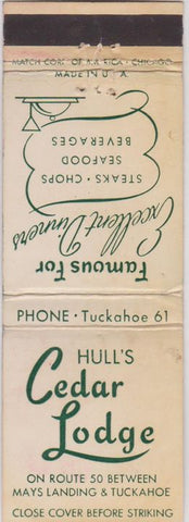 Matchbook Cover - Hull's Cedar Lodge Mays Landing NJ Tuckahoe WEAR