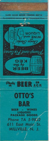 Matchbook Cover - Otto's Bar Millville NJ blue WORN
