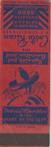 Matchbook Cover - Costa Rican Hotel Chicago IL SAMPLE WEAR