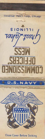 Matchbook Cover - Officers' Mess Great Lakes IL US Navy WORN