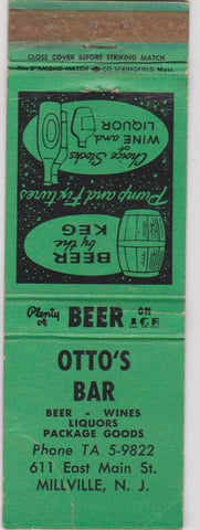 Matchbook Cover - Otto's Bar Millville NJ green WEAR