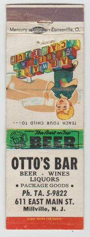 Matchbook Cover - Otto's Bar Millville NJ safety scene