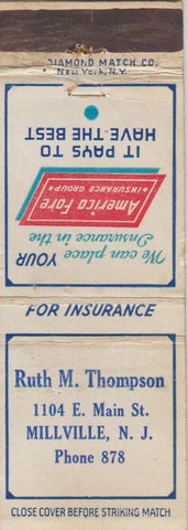 Matchbook Cover - Ruth Thompson Insurance Millville NJ WEAR