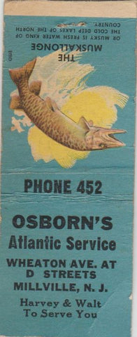 Matchbook Cover - Osborn's Atlantic oil gas Millville NJ BOBTAIL WEAR