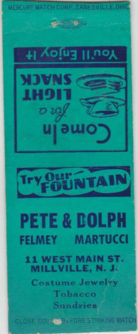 Matchbook Cover - Pete Felmey Dolph Martucci Millville NJ BOBTAIL fountain