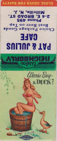 Matchbook Cover - Pat Julius Cafe Millville NJ pinup BOBTAIL