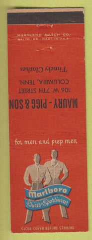 Matchbook Cover - Marlboro Men's Shirts Columbia TN Maury Pigg