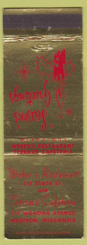 Matchbook Cover - Weber's Restaurant Madison WI Chirstmas
