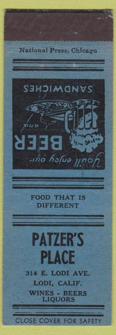 Matchbook Cover - Patzer's Place Lodi CA