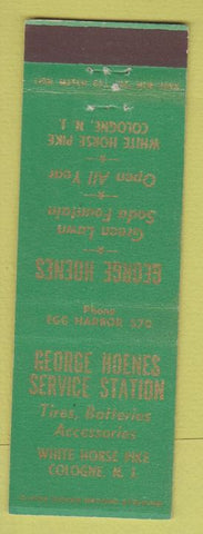 Matchbook Cover - George Hoenes Fountain Cologne NJ oil gas