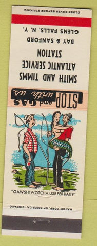 Matchbook Cover - Smith Timms Atlantic Oil gas Glens Falls NY hillbilly