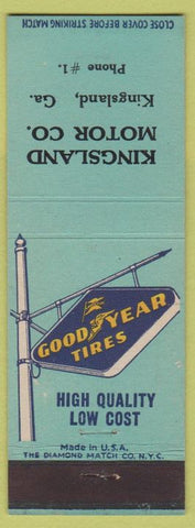 Matchbook Cover - Goodyear Tires Kingsland GA low phone #1
