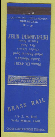 Matchbook Cover - Brass Rail Santa Monica CA