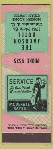 Matchbook Cover - Jackson Hotel Columbia SC Advance