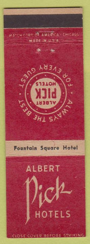 Matchbook Cover - Fountain Square Hotel Albert Pick Cincinnati OH
