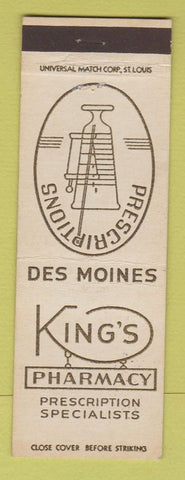 Matchbook Cover - King's Pharmacy drugs Des Moines IA
