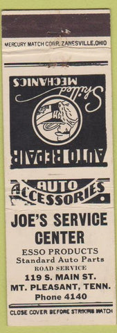 Matchbook Cover - Joe's Service Center Esso oil gas Mount Pleasant TN