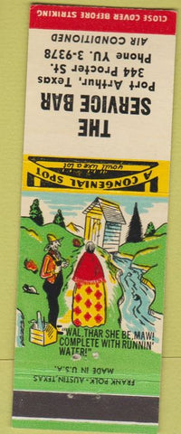 Matchbook Cover - The Service Bar Port Arthur TX hillbilly