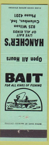 Matchbook Cover - Hancher's Bait fishing Columbus IN