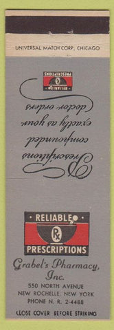 Matchbook Cover - Grabel's Pharmacy Drugs New Rochelle NY