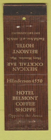 Matchbook Cover - Hotel Belmont Coffee Shop Cleveland OH