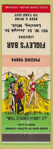 Matchbook Cover - Figley's Bar Lansing MI hillbilly