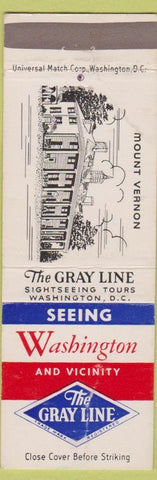 Matchbook Cover - Gray Line Tours Washington DC Mount Vernon