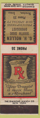 Matchbook Cover - GH Nollen Drugs Newton IA DQ low phone #